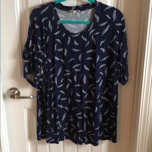 Navy Blue flutter sleeve shirt